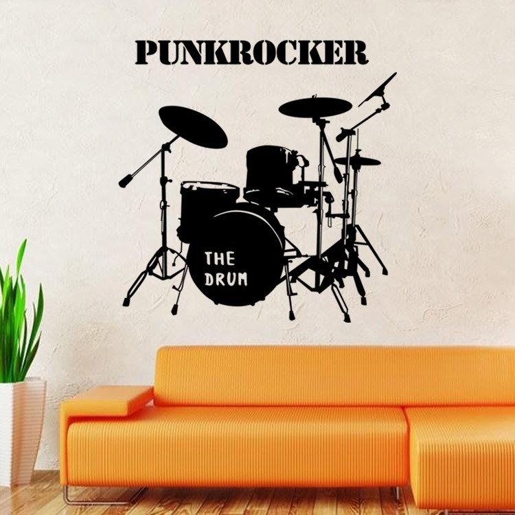 Drum Set Wall Graphic Decal musical instruments sticker living room ...