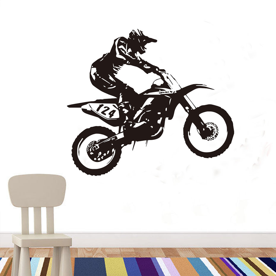 Free shipping personality motocross home decor pvc sticker racing number 124 racer riding motorbike wall decal bedroom for child in wall stickers from home