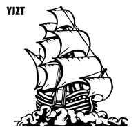 YJZT 15.3CM * 16.1CM dessin animé bateau voiles océan marin voile vinyle décalque beau décor Art voiture autocollant noir/argent C27-0451