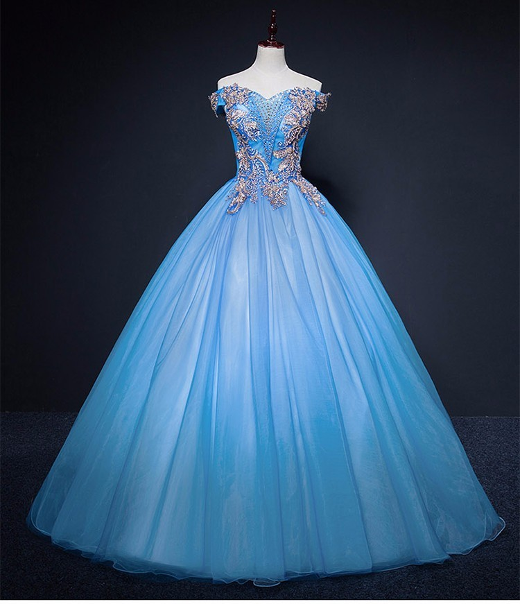 c5700245d15 Details about Light Blue Quinceanera Dresses Ball Gown Sweet 16 Debutante Party  Dress