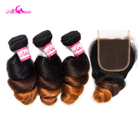 Ali Coco Brazilian Loose Wave Bundles With Closure 1B/4/30 Color Human Hair Weave 12 28Inch 3 Bundles With Lace Closure Remyhair