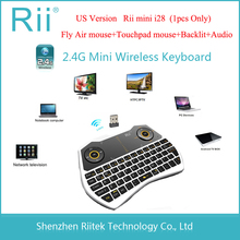 RII RT-MWK28 i28 2.4G Mini Wireless Air mouse Keyboard 6-axis Gyroscope Backlit Touchpad Audio Combo for TV Box HTPC PC Teclado