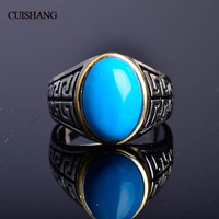 CSJ Synthesis Turquise ring in 925 silver men's or madam's ring in 925 sterling silver for men with gift box,for men's gift