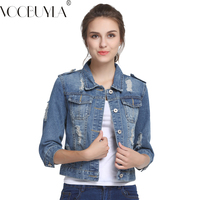 VooBuyLa Genuine Plus Size 5XL Summer Denim Jacket Women 2016 Three Quarter Slim Cotton Light Washed