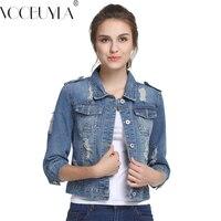 VooBuyLa Genuine Plus Size 5XL Summer Denim Jacket Women 2016 Three Quarter Slim Cotton Light Washed