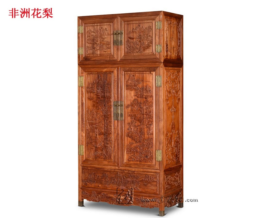 American Country Classic Wardrobe Rosewood Flat Sliding