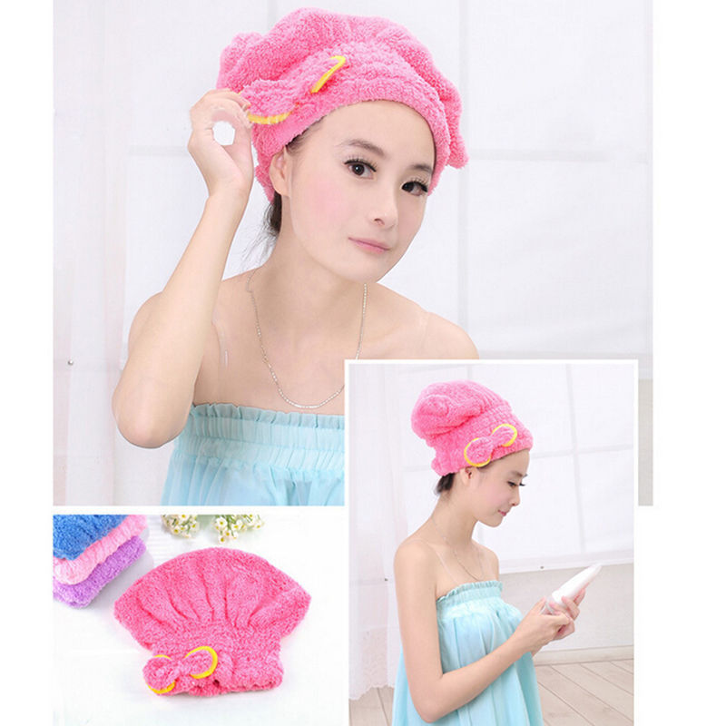 1PCS Home Textile Microfiber Solid Hair Turban Quickly Dry Hair Hat Wrapped Towel Bath Cap Multi-color Available