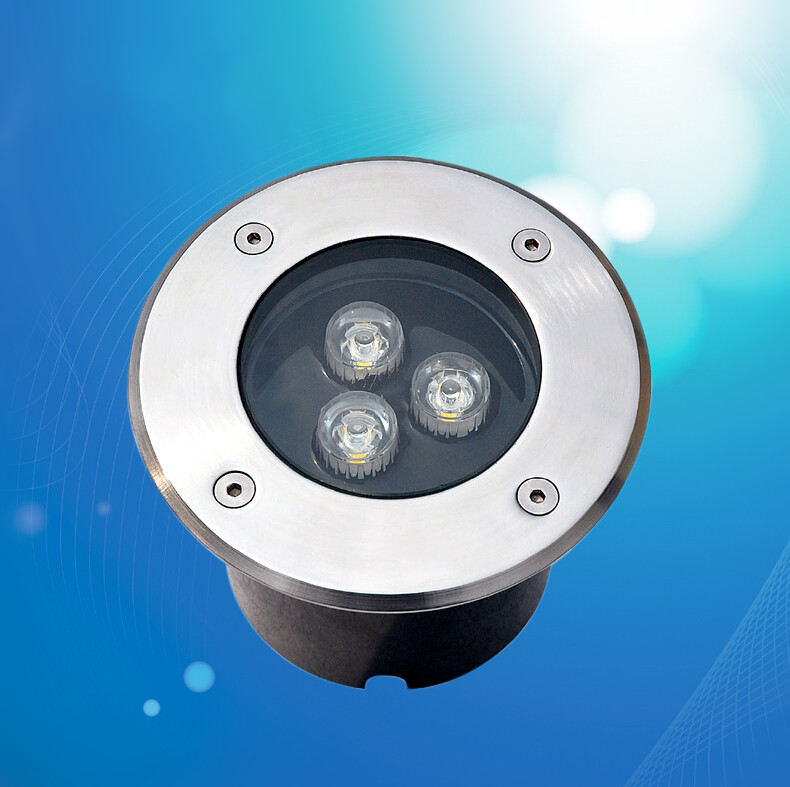 Retail 3*3W LED underground light steel lamps garden outdoor LED floor light  IP68 DC12V