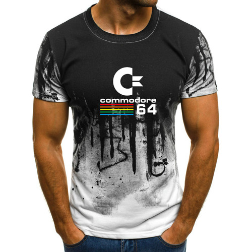 2019 new summer casual fashion ultra-thin Commodore 64   T  -  shirt   printed men's sports short-sleeved   shirt  .