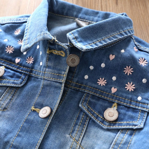 2018 Spring New Arrival Baby Girls Fashion Denim Jacket Kids Flower-embroidery Denim Outerwear Jacket Coat Child Cotton Jacket Karachi
