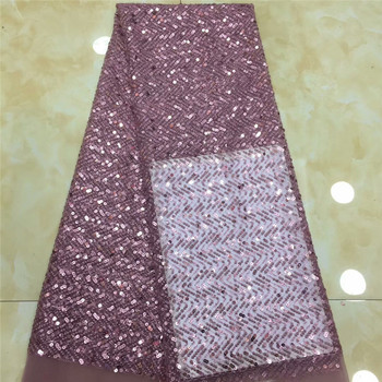African Lace Fabric 2019 High Quality Lace Sequins Fabric French Nigerian Lace Fabric Embroidery Wedding dress Lace x2-88