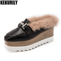 Shoes Women Rabbit Fur Wedges Mules Metal decoration Slides Sandals Ladies Platform Slippers Slip on Zapatos mujer Black White