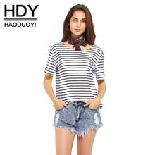 Hdy haoduoyi полоса мода женщины футболку черный контрастный белый o шеи вскользь топы уличной краткое естественно женский тис(China (Mainland))