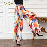VOA тяжелый шелк плюс Размеры 5XL длинные брюки Для женщин свободные широкие штаны принт Boho Повседневное абстракция рисунок Высокая Талия K369