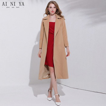 New 2018 Autumn Winter Belt Double-sided Cashmere Coat Plus Long Knee-length Wool Woolen Jacket Female 50% Wool 50% Polyester