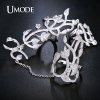 UMODE Brand Fashion Luxury Anel White Gold Color Micro CZ Unique Two Full Finger Rings With Chain For Women Jewelry Gift AUR0264