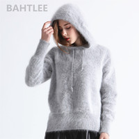 BAHTLEE 2018 winter women's angora knitted pullovers sweater with cap mink cashmere keep warm loose thick four color