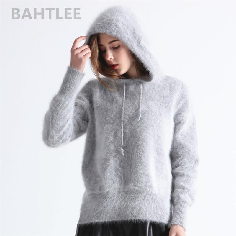 BAHTLEE ผู้หญิงฤดูหนาว Angora ถัก Pullovers เสื้อกันหนาวหมวก Jumpe ยาวแขนอุ่นหลวม Stye หนา 4 สี-ใน เสื้อคลุมสวมศีรษะ จาก เสื้อผ้าสตรี บน   1