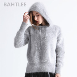 BAHTLEE Winter Women Angora Knitted Pullovers Sweater With cap Jumpe Long Sleeves keep warm loose Stye thick four color