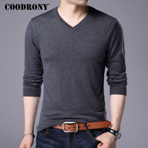 Image 1 - COODRONY Cashmere Sweater Men Brand Clothing 2017 Autumn Winter Thick Warm Wool Sweaters Solid Color V Neck Pullover Shirts 7153