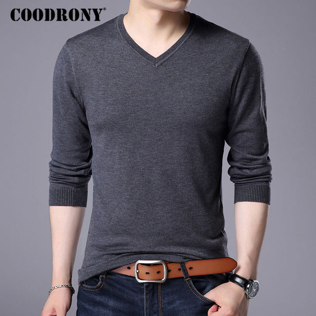 COODRONY Cashmere Sweater Men Brand Clothing 2017 Autumn Winter Thick Warm Wool Sweaters Solid Color V Neck Pullover Shirts 7153