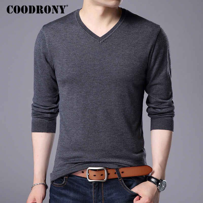 Coodrony 캐시미어 스웨터 남성 브랜드 의류 2017 가을 겨울 두꺼운 따뜻한 양모 스웨터 솔리드 컬러 v 넥 풀오버 셔츠 7153