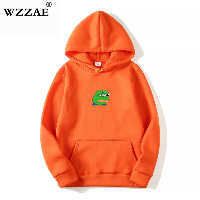 2018 Men/Women Sad Frog Print Sportswear Hoodies Male Hip Hop Fleece Long Sleeve Hoodie Slim Fit Sweatshirt Hoodies For Men