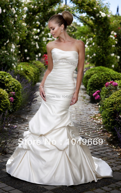Y Slim Mermaid Wedding Dresses Gorgeous Satin Bridal Gown W Whimsical Fabric Pickups