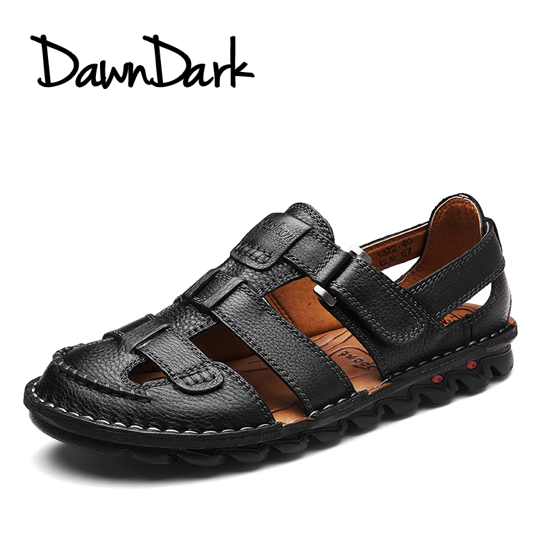 Men Sandals Leather Spring Summer Mae Beach Flip Flops Split Leather Black Brown Man Casual Flat Shoes Big Size
