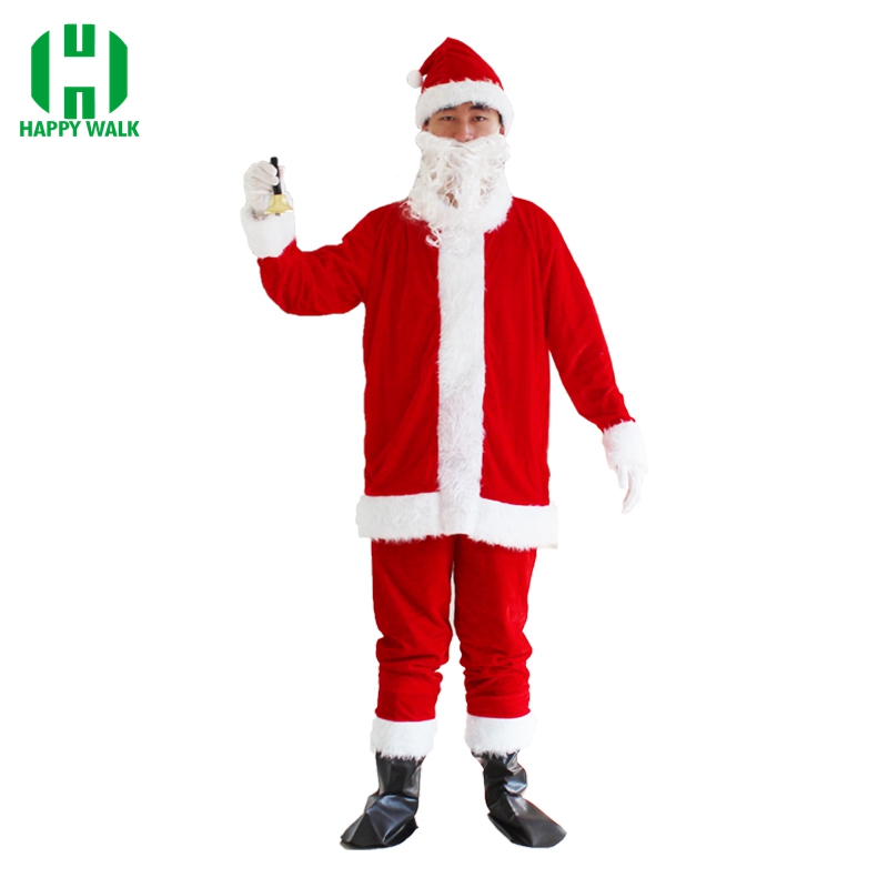 Christmas Santa Claus Costume Cosplay Santa Claus Clothes Fancy Dress In Christmas Men 7pcs/lot Costume Suit For Adult