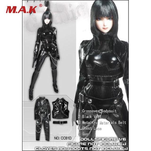 1/6 Scale Female Black Leather Tight Suit For  12'' Women Action Figures Bodies