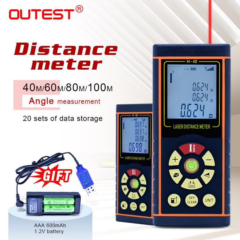 OUTEST Digital Laser Distance Meter 40m/60m/80m/100m Laser Rangefinder Optical Tape Range Finder Diastimeter Measure Roulette цена
