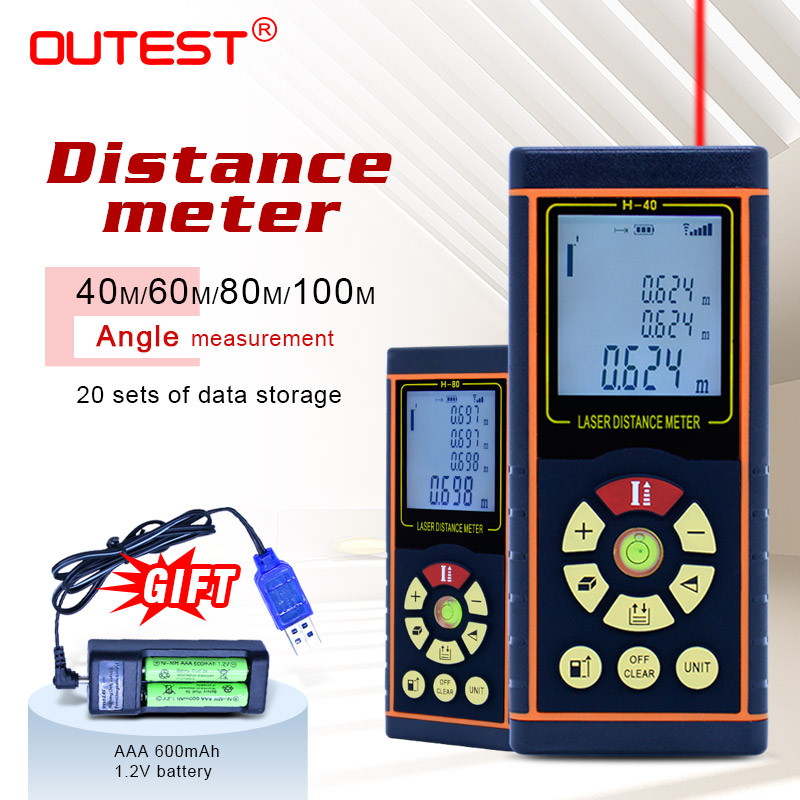 OUTEST Numérique Laser Mètre de Distance 40 m/60 m/80 m/100 m Laser Télémètre Optique Bande gamme Finder Diastimeter Mesure Roulette