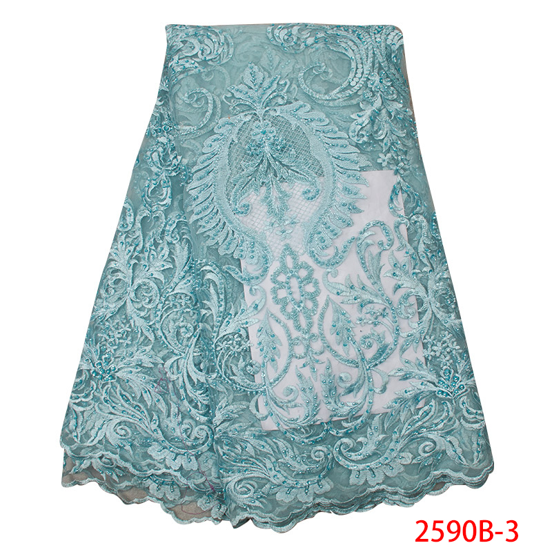 2019 Hot Sale French Tulle Lace Fabric Nigerian Laces Fabrics Embroidered African Lace Fabrics With Beads Sequin KS2590B-3