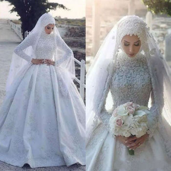 2021 Muslim Wedding Dress with Hijab Long Sleeves Lace Appliqued Sweep Train Bridal Gowns Vestido De
