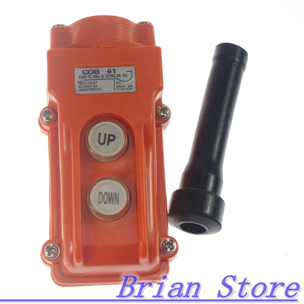 Hoist Crane Pendant Control Station Push Button Switch UP-Down COB-61 cob 64 hoist crane pendant pushbutton switch up down rain proof button 8