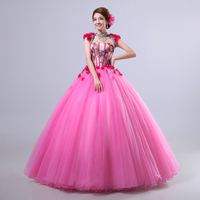 100%real carnival printing flowe pink court medieval dress renaissance Gown queen Victorian /Marie/ Belle Ball/ball gown