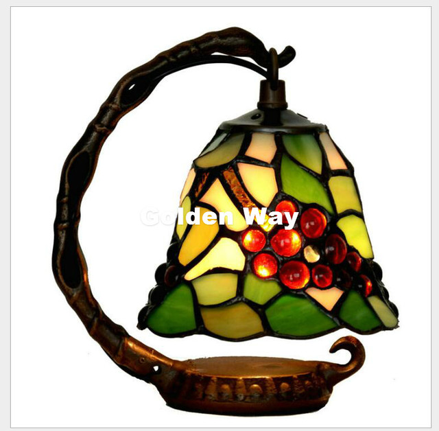 New Arrival Tiffany Table Lamp D15cm Vintage Bedroom Night Table Lamp  Stained Lamp Living Room Hotel