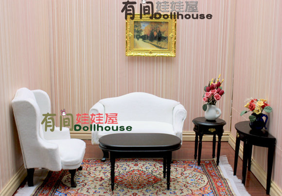 1 12 Drawing Room Furniture Miniatures 5in1 Set Double Seat Single Sofa Oval Half Round Round Table Wooden Dollhouse Accessories