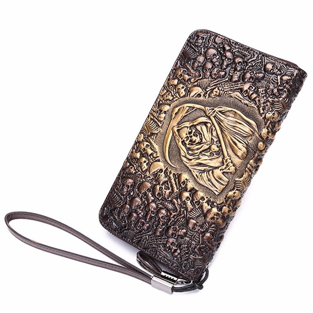 Portefeuille en cuir véritable pour hommes et femmes, portefeuille Long à la mode, avec motif de crâne, poche de marque célèbre, porte-carte, porte-monnaie