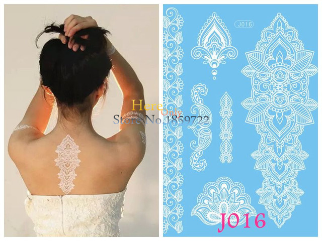 Henna Mehndi Stickers : Pc tatouage taty white henna tattoo stickers lace mehndi hj