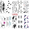 10PCS New Combination 1 Lot Fashion Men And Women Fake Tattoo Birds Flower Body Art Flash Waterproof Temporary Tattoos Stickers