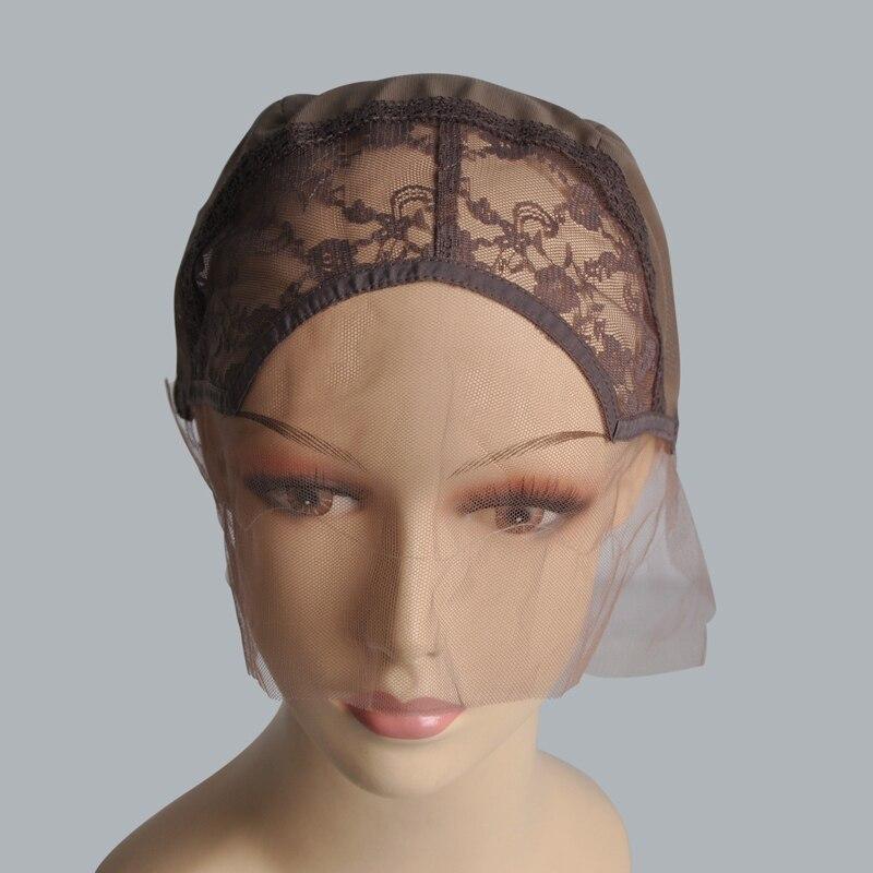 레이스 프런트 조절 가발로 가발을 만들기위한 가발 모자를 쓰고 짠 모자 꽃 스위스 레이스 가발 모자 M 사이즈