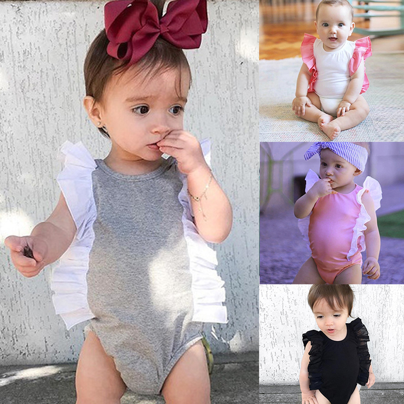 New Cute Newborn Baby Girls Rompers Clothes White Pink Lace Patchwork Playsuit Jumpsuit Outfit 2018 Summer Bebes Sunsuit 3-24M