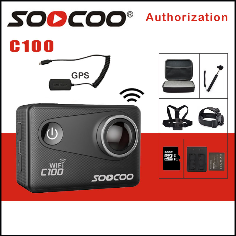 SOOCOO C100 4K WIFI Video Sports Camera Outdoor Action Camera Wifi Ultra HD Waterproof DV Camcorder 12MP 170 Degree Option GPS original eken action camera eken h9r h9 ultra hd 4k wifi remote control sports video camcorder dvr dv go waterproof pro camera