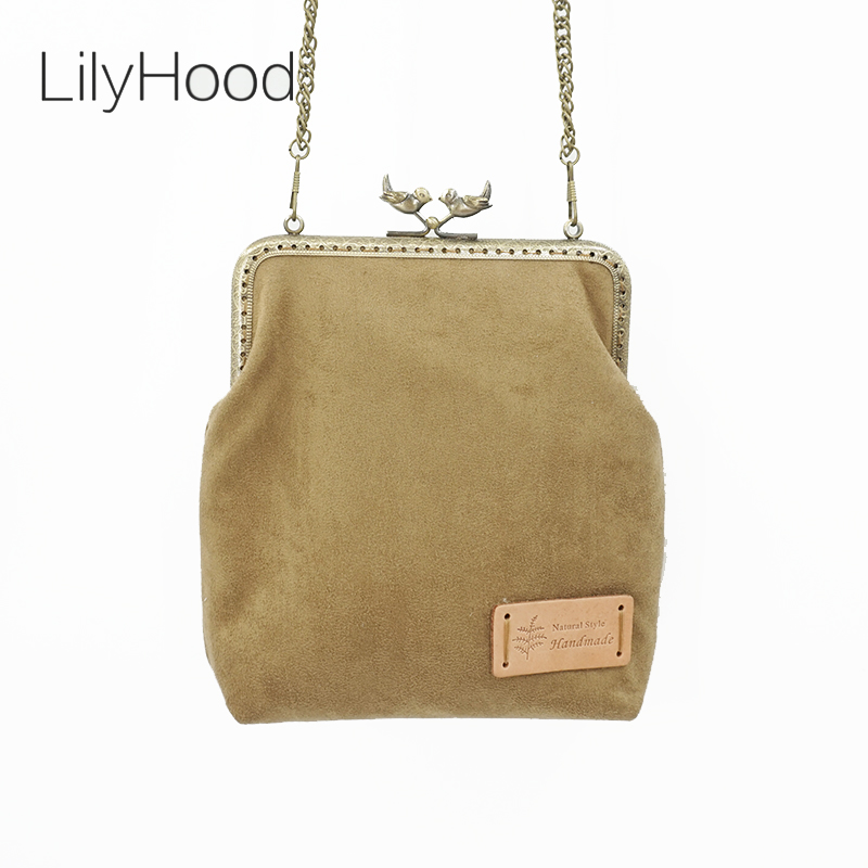 LilyHood 2017 Handmade Faux Suede Leather Shoulder Bag Nubuck Simple Retro Victorian Shabby Chic Small Cell Phone Messenger Bag