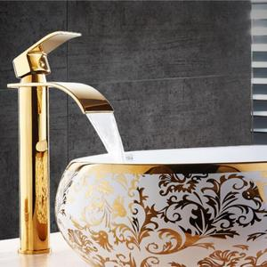 Image 2 - Basin Faucet Gold and white Waterfall Faucet Brass Bathroom Faucet Bathroom Basin Faucet Mixer Tap Hot and Cold Sink faucet
