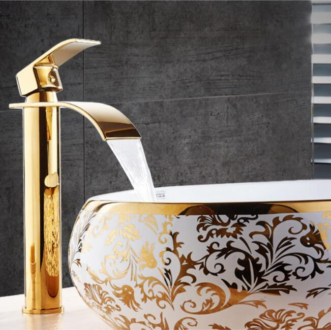 New Arrival Crane Gold and white color Waterfall Faucet Bathroom Faucet Bathroom Basin Faucet Mixer Tap Hot and Cold Sink faucet