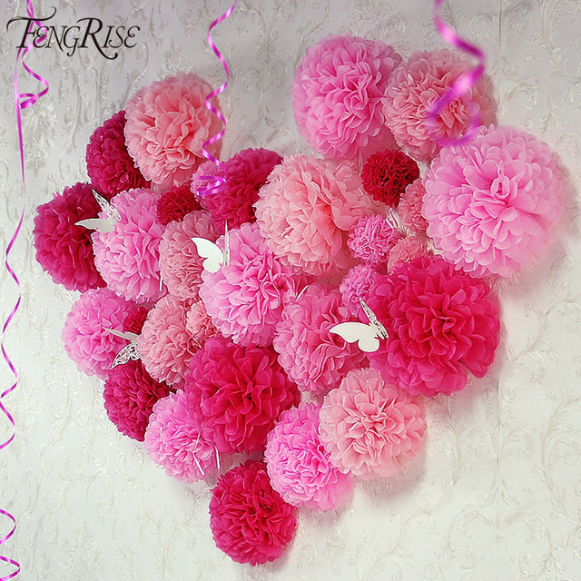 FENGRISE Wedding Decoration 5pcs Pom Poms 25cm Tissue Paper Artificial Flowers Ball Baby Shower Party Craft Birthday Supplies
