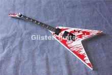 New White 6 strings flying V shape  electric bass guitar, special V